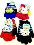 CHILDREN'S GLOVES WITH PUFFY ANIMAL CHARACTERS (DOZEN)