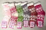 THICK SHERPA SOCKS WITH FLEECE LINING (DOZEN) BOWS W/HEARTS