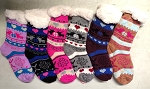 THICK SHERPA SOCKS WITH FLEECE LINING (DOZEN) DEER W/HEARTS